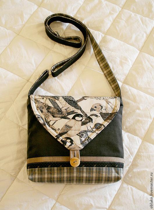 Женские сумки ручной работы. Ярмарка Мастеров - ручная работа. Купить Сумка с птицами маленькая. Handmade. Темно-серый