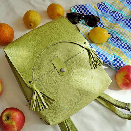 Рюкзаки ручной работы. Ярмарка Мастеров - ручная работа. Купить Яркий кожаный рюкзак ручной работы. Handmade. Рюкзак