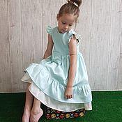 Платья ручной работы. Ярмарка Мастеров - ручная работа Платье бирюзово- молочное. Handmade.