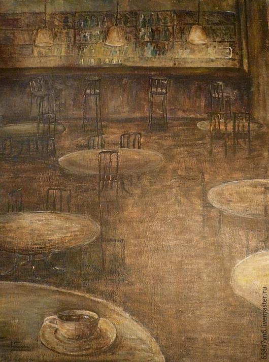 Город ручной работы. Ярмарка Мастеров - ручная работа. Купить Кафе - живопись. Handmade. Коричневый, вечер, интерьер, свет