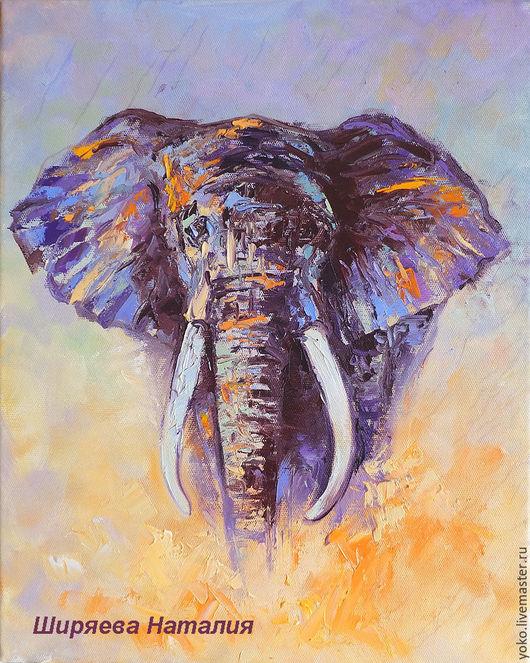"""Животные ручной работы. Ярмарка Мастеров - ручная работа. Купить Картина со слоном """"Лицом к Лицу"""" (холст, масло). Handmade."""