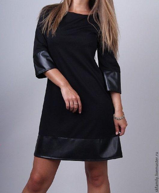 Платья ручной работы. Ярмарка Мастеров - ручная работа. Купить Трикотажное платье трапеция. Handmade. Черный, платье на заказ, платье
