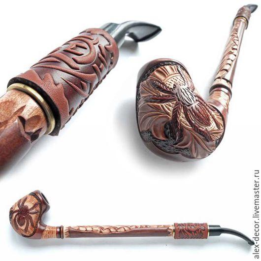 Подарки для мужчин, ручной работы. Ярмарка Мастеров - ручная работа. Купить Курительная трубка с кожей Gusar-711069-84. Handmade.