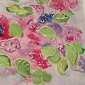 Shawls1 handmade. Livemaster - original item Blooming lilacs. Batik 55 x 55 cm . Natural crepe. Handmade.