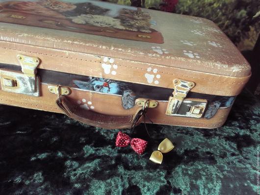 Чемоданы ручной работы. Ярмарка Мастеров - ручная работа. Купить Чемодан с котятами. Handmade. Чемодан, винтаж, детская комната, чемодан