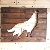 Картины и панно handmade. Livemaster - original item Wolf wood painting mural on the wall. Handmade.