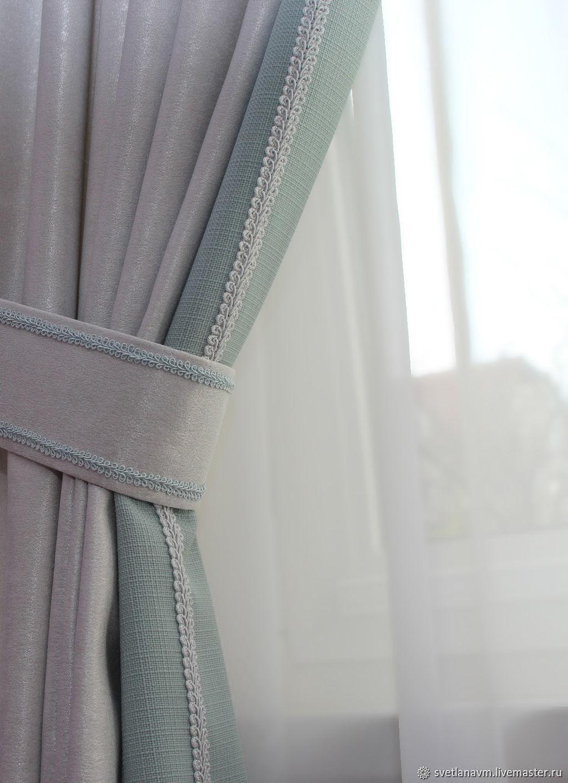 Светло-серые шторы с бирюзовыми кантами, Шторы, Королев,  Фото №1