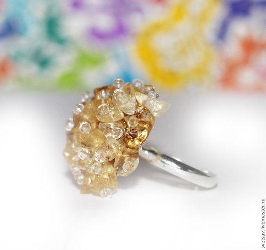 кольцо ручной работы, цитрин, солнечное украшение, яркий аксессуар