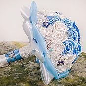 """Свадебный салон ручной работы. Ярмарка Мастеров - ручная работа Брошь букет невесты """"Небесный"""". Handmade."""