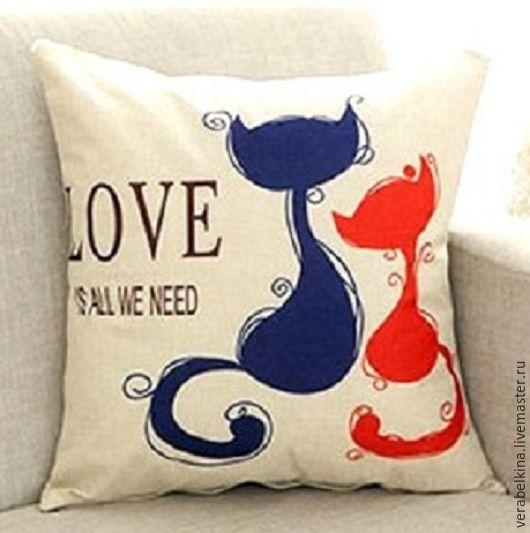 """Текстиль, ковры ручной работы. Ярмарка Мастеров - ручная работа. Купить Наволочка на подушку """"Любовь"""". Handmade. Комбинированный, наволочки, красный"""