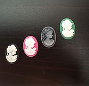 Материалы для творчества ручной работы. Ярмарка Мастеров - ручная работа Камея кабошон овал чёрный, розовый, зелёный, серый, белый. Handmade.