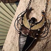 Украшения handmade. Livemaster - original item Obsidian arrow pendant with Algiz rune (p-011-11). Handmade.