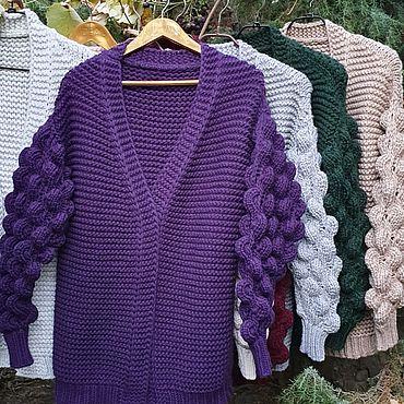 Одежда ручной работы. Ярмарка Мастеров - ручная работа Кардиган вязаный Малинки баклажан. Handmade.
