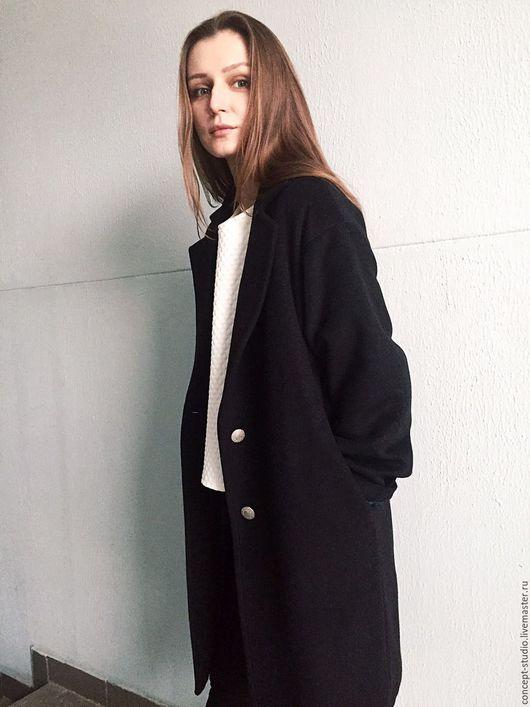 """Верхняя одежда ручной работы. Ярмарка Мастеров - ручная работа. Купить Пальто демисезонное шерсть/кашемир темное """"баллон"""". Handmade."""