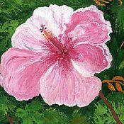 """Картины и панно ручной работы. Ярмарка Мастеров - ручная работа картина """"Цветок мира"""" (зеленый, розовый). Handmade."""
