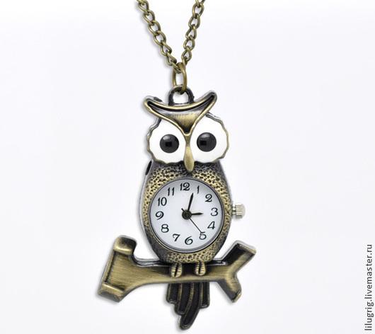 """Часы ручной работы. Ярмарка Мастеров - ручная работа. Купить Часы-кулон """"Сова на ветке"""". Handmade. Разноцветный, часы-подвеска"""
