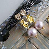 Серьги ручной работы. Ярмарка Мастеров - ручная работа Позолоченные серьги с хлопковым жемчугом и фианитами. Handmade.