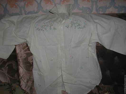 Одежда. Ярмарка Мастеров - ручная работа. Купить блузка из льняного батиста Гонконг. Handmade. Салатовый, вышивка на одежде, блузка