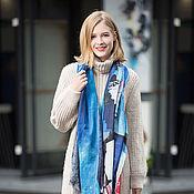 Аксессуары handmade. Livemaster - original item Cashmere Scarf blue pattern color shawl fashion women. Handmade.