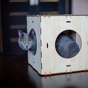 Товары для питомцев ручной работы. Ярмарка Мастеров - ручная работа Домик для кошки кубический блок конструктор. Handmade.