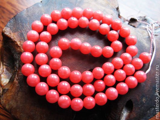 Для украшений ручной работы. Ярмарка Мастеров - ручная работа. Купить КОРАЛЛ розовый шарик 6 мм нить. Handmade.