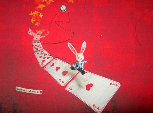 """Шитье ручной работы. Ярмарка Мастеров - ручная работа. Купить Вискозный трикотаж """"Зазеркалье"""". Handmade. Ярко-красный, вискоза, кролик"""