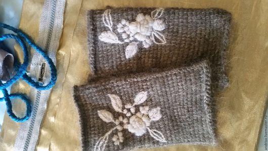 Варежки, митенки, перчатки ручной работы. Ярмарка Мастеров - ручная работа. Купить Митенки  серые с белой розой. Handmade. Серый