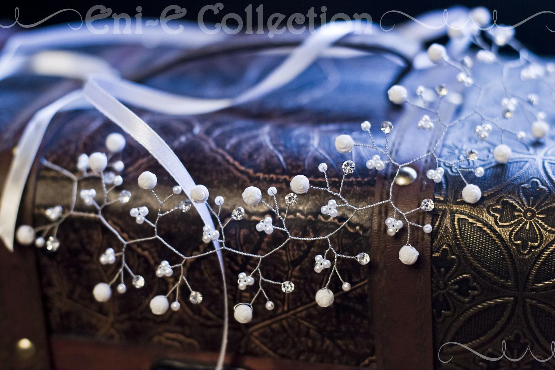 White wreath on the head. Wedding wreath hair, Hair Decoration, Moscow,  Фото №1