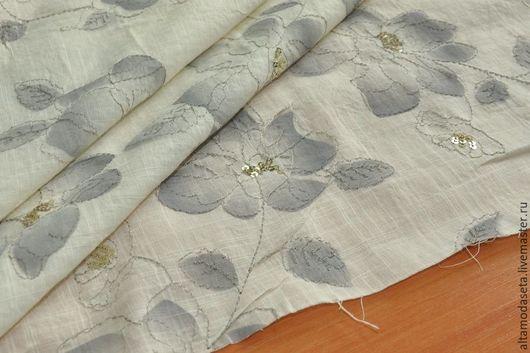 """Шитье ручной работы. Ярмарка Мастеров - ручная работа. Купить Вышивка на хлопке """"Alberta Ferretti"""", Италия. Handmade. Ткани для одежды"""