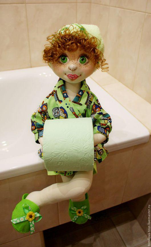 Ванная комната ручной работы. Ярмарка Мастеров - ручная работа. Купить Лили, кукла - держатель для туалетной бумаги. Handmade. Салатовый