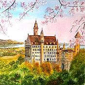 """Картины и панно ручной работы. Ярмарка Мастеров - ручная работа Картина акварелью, пейзаж """"Весна в Баварии. Замок Нойшванштайн"""""""". Handmade."""
