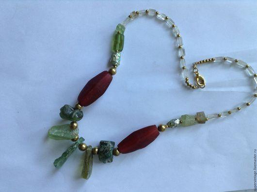 Колье, бусы ручной работы. Ярмарка Мастеров - ручная работа. Купить Ожерелье с античным стеклом РИМСКИЕ КАНИКУЛЫ. Handmade. Комбинированный