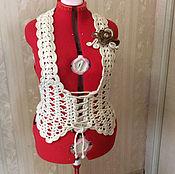Одежда handmade. Livemaster - original item Vest knitted lace-up Yanina 52-54 size.. Handmade.