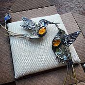 """Украшения ручной работы. Ярмарка Мастеров - ручная работа Броши """"Ракетохвостые колибри"""". Handmade."""