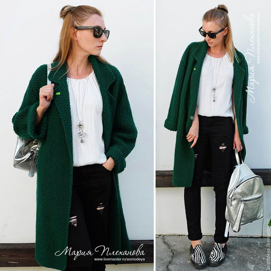 Верхняя одежда ручной работы. Ярмарка Мастеров - ручная работа. Купить Пальто вязаное зеленое. Handmade. Тёмно-зелёный