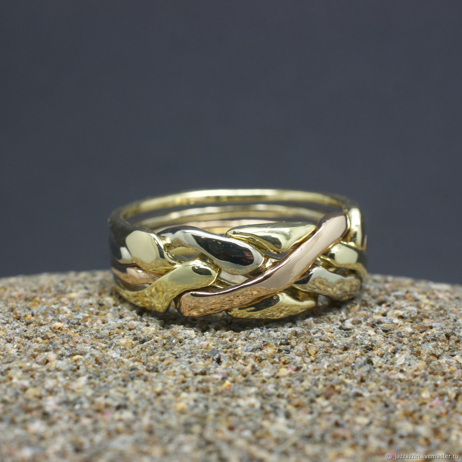 Rings handmade. Livemaster - handmade. Buy 4 color gold Puzzle ring.Ring, 14k gold