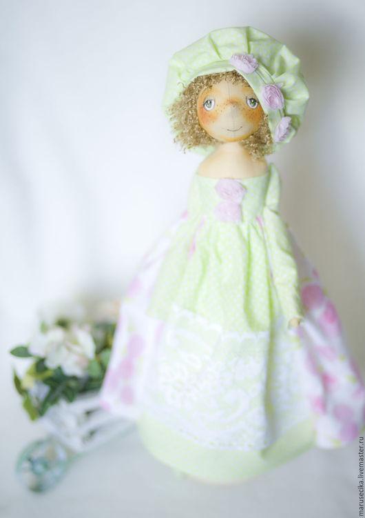 Куклы тыквоголовки ручной работы. Ярмарка Мастеров - ручная работа. Купить Розовый сад. Handmade. Салатовый, кукла текстильная
