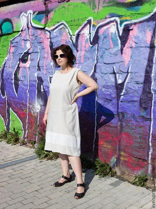 Льняное платье, длинное платье, платье на каждый день, бохо платье, платье из льна, платье большой размер, светло серое платье, платье трапеция, платье для беременных, свободное платье.