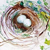 Картины и панно ручной работы. Ярмарка Мастеров - ручная работа Акварели Гнездышки. Handmade.