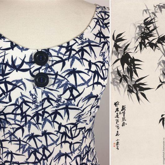 """Одежда. Ярмарка Мастеров - ручная работа. Купить Винтажное платье """"бамбуковые листья"""", 1970-к годы. Handmade. Платье, листья бамбука"""