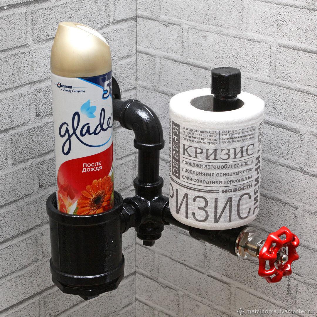 Угловой держатель туалетной бумаги в стиле лофт, стимпанк, ретро, Держатели, Москва,  Фото №1