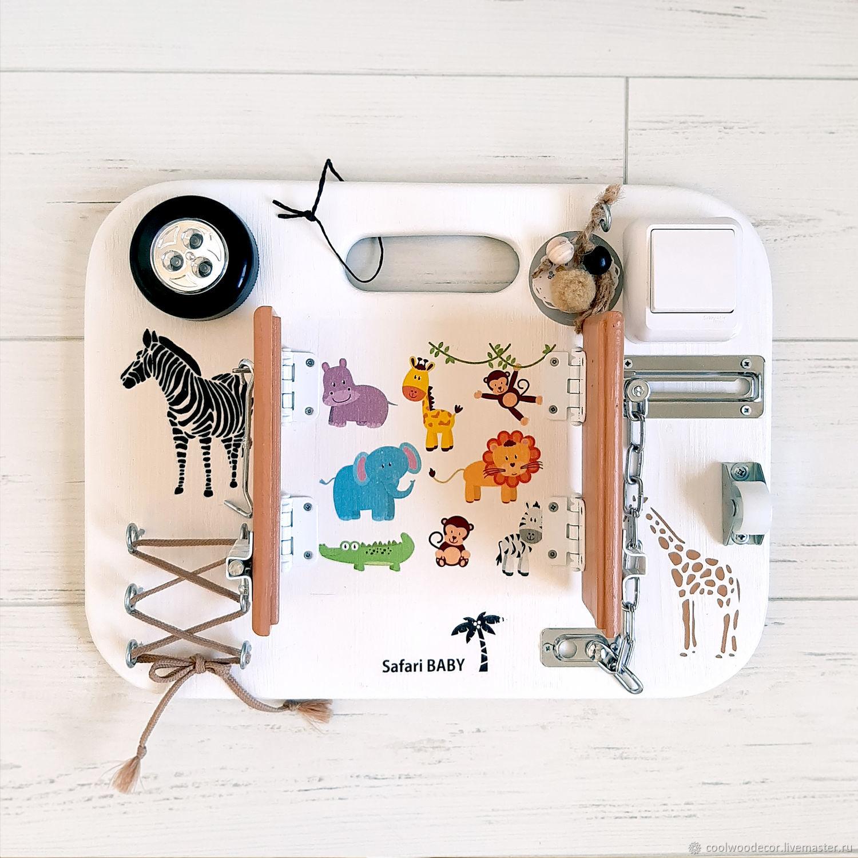 Бизиборд из дерева Safari Baby с грифельной доской, Бизиборды, Липецк,  Фото №1