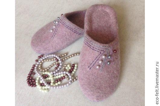 """Обувь ручной работы. Ярмарка Мастеров - ручная работа. Купить Тапочки женские """"Щербет"""". Handmade. Бледно-сиреневый, тапочки валяные"""