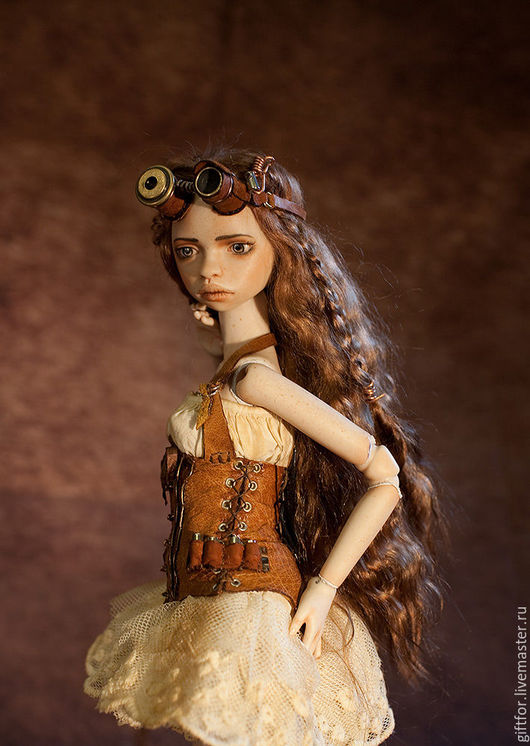Коллекционные куклы ручной работы. Ярмарка Мастеров - ручная работа. Купить Фарфоровая шарнирная кукла. Steampunk.. Handmade. Коричневый