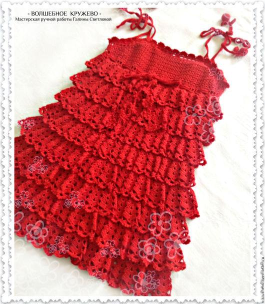 Одежда для девочек, ручной работы. Ярмарка Мастеров - ручная работа. Купить Вязаный летний сарафан для девочки Ягодка из хлопка. Handmade.