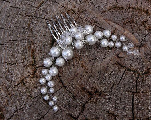 Гребень свадебный с жемчугом и хрусталем. Украшения для особенных невест на заказ от дизайнера, Михайловой Ирины.