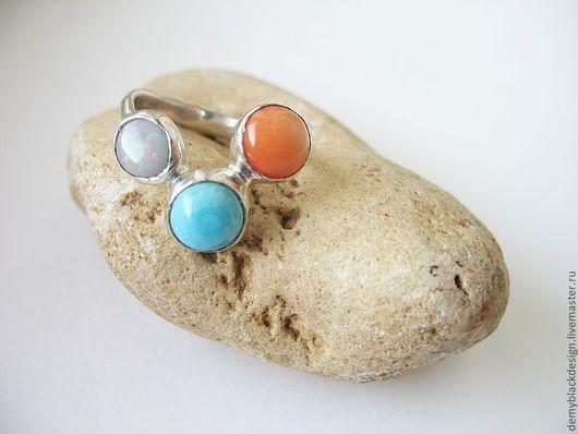 Кольца ручной работы. Ярмарка Мастеров - ручная работа. Купить Серебряное кольцо Summertime с кораллом, опалом и бирюзой. Handmade. casual