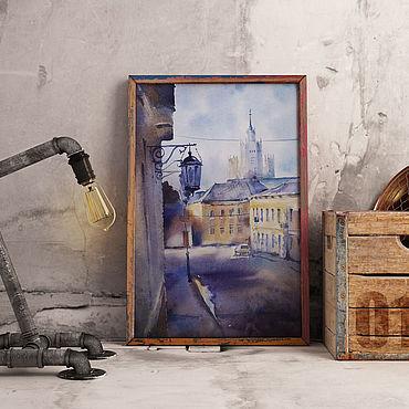 Картины и панно ручной работы. Ярмарка Мастеров - ручная работа Картина акварелью Москва (городской пейзаж голубой коричневый). Handmade.