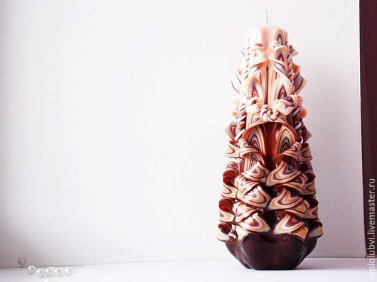 Свечи ручной работы. Ярмарка Мастеров - ручная работа. Купить Резная свеча - коричневый бежевый - свеча резная Шоколад. Handmade.