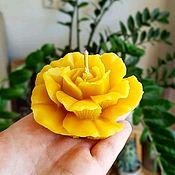 Свечи ручной работы. Ярмарка Мастеров - ручная работа Свеча из пчелиного воска Роза. Handmade.